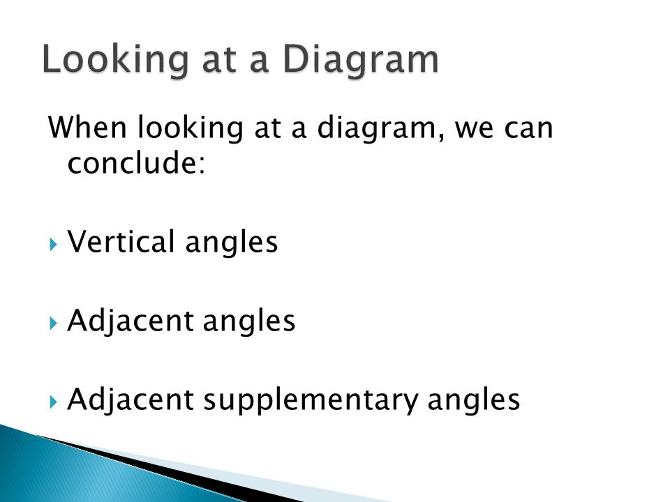When looking at a diagram, we can conclude:  Vertical angles  Adjacent angles  Adjacent supplementary angles