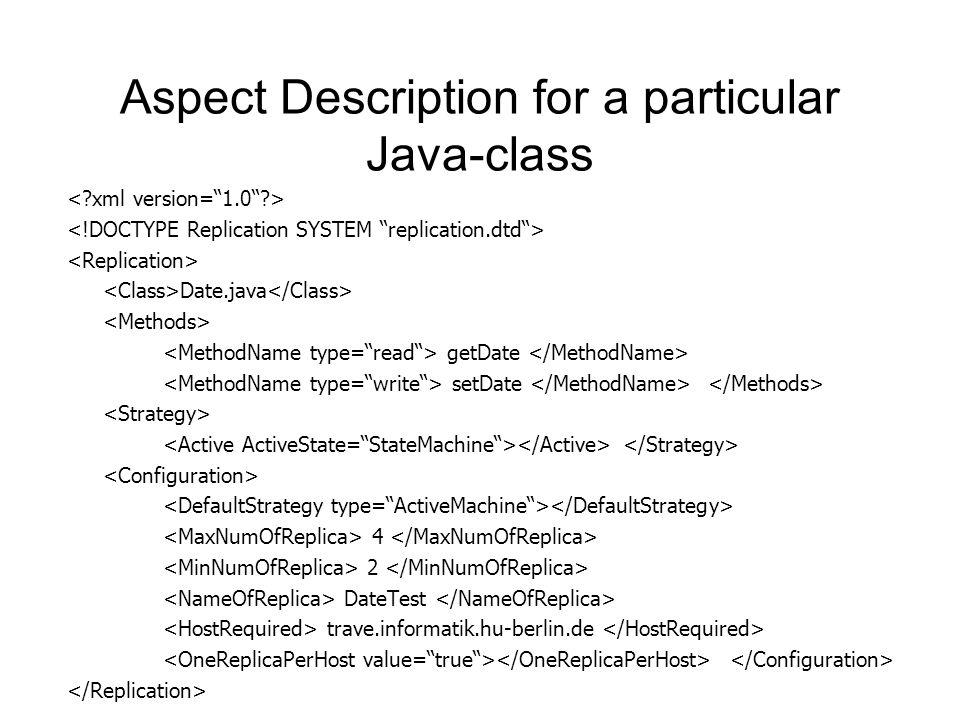 Aspect Description for a particular Java-class Date.java getDate setDate 4 2 DateTest trave.informatik.hu-berlin.de