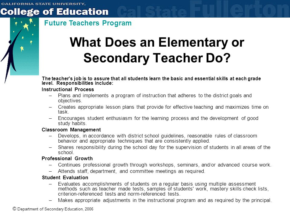 © Department of Secondary Education, 2006 Future Teachers Program What Does an Elementary or Secondary Teacher Do.