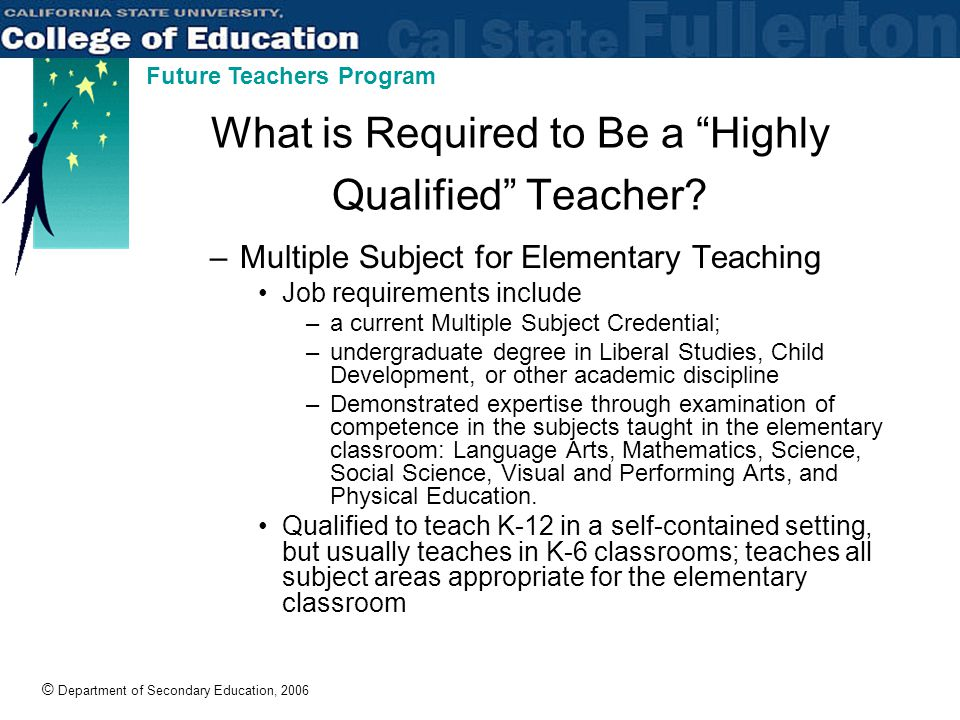 © Department of Secondary Education, 2006 Future Teachers Program What is Required to Be a Highly Qualified Teacher.