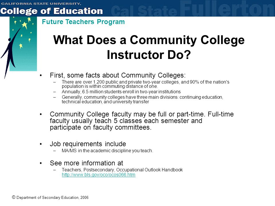 © Department of Secondary Education, 2006 Future Teachers Program What Does a Community College Instructor Do.