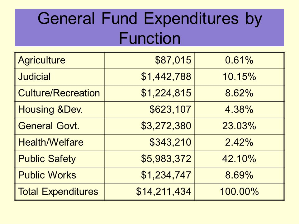 General Fund Expenditures by Function Agriculture$87,0150.61% Judicial$1,442,78810.15% Culture/Recreation$1,224,8158.62% Housing &Dev.$623,1074.38% General Govt.$3,272,38023.03% Health/Welfare$343,2102.42% Public Safety$5,983,37242.10% Public Works$1,234,7478.69% Total Expenditures$14,211,434100.00%