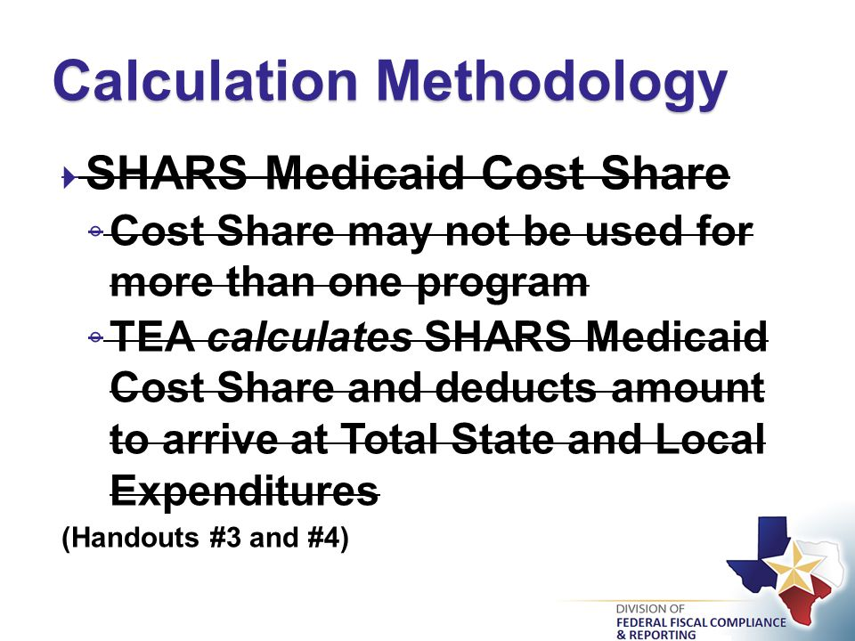  R5931 School Health and Related Services (SHARS) ◦ Funds received represent reimbursements to the LEA for school-based health services provided to students in the Medicaid Program ◦ Expenditures associated with SHARS reimbursements will be subtracted from Special Education expenditures for MOE purposes ◦ Expenditures subtracted comprise the state/local Medicaid Cost Share Amount (Handout #4) SHARS – FASRG - Coding