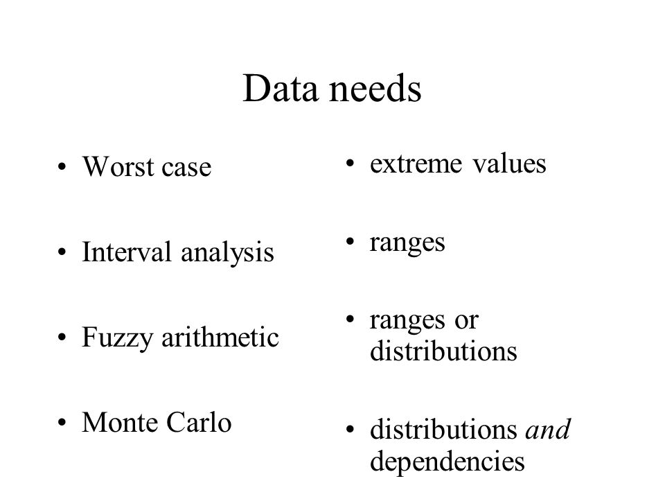 Data needs Worst case Interval analysis Fuzzy arithmetic Monte Carlo extreme values ranges ranges or distributions distributions and dependencies