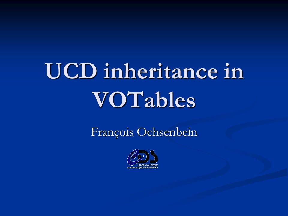 UCD inheritance in VOTables François Ochsenbein