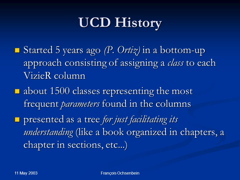 11 May 2003 François Ochsenbein UCD History Started 5 years ago (P.