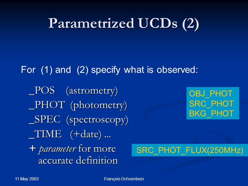 11 May 2003 François Ochsenbein Parametrized UCDs (3) easy to understand easy to understand less definitions less definitions easily extensible via additional parameters easily extensible via additional parameters complex to assign SRC OBJ MED LOS several parameters in practice  how to define domains.