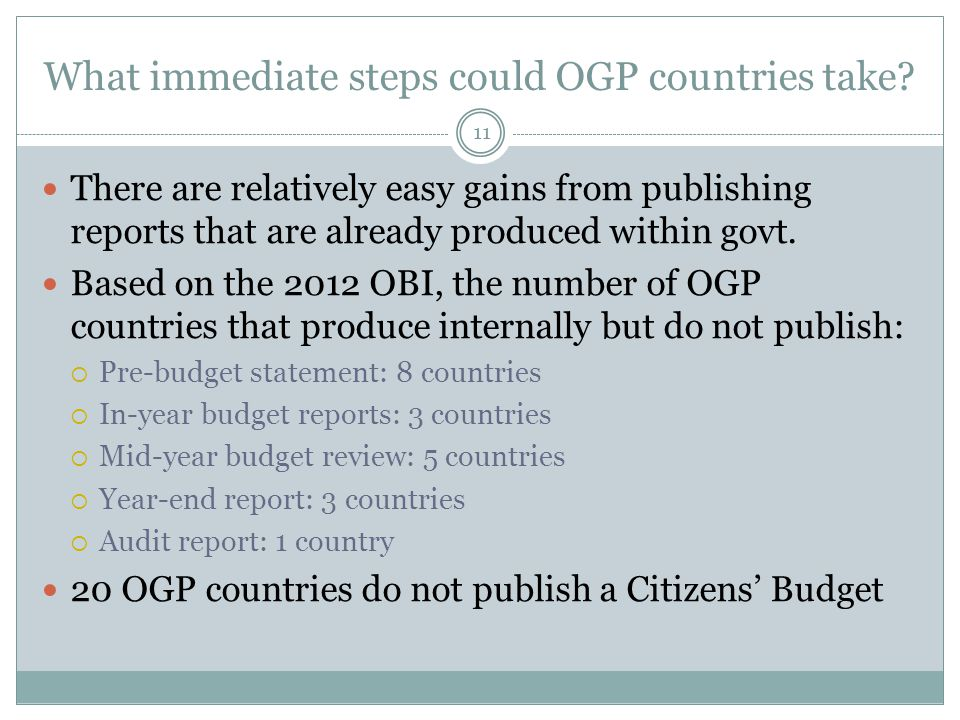 What immediate steps could OGP countries take.