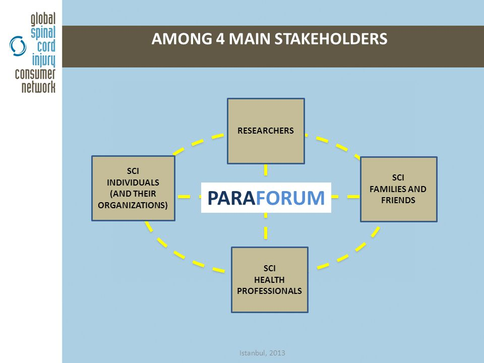 AMONG 4 MAIN STAKEHOLDERS SCI INDIVIDUALS (AND THEIR ORGANIZATIONS) SCI HEALTH PROFESSIONALS SCI FAMILIES AND FRIENDS RESEARCHERS PARAFORUM Istanbul, 2013