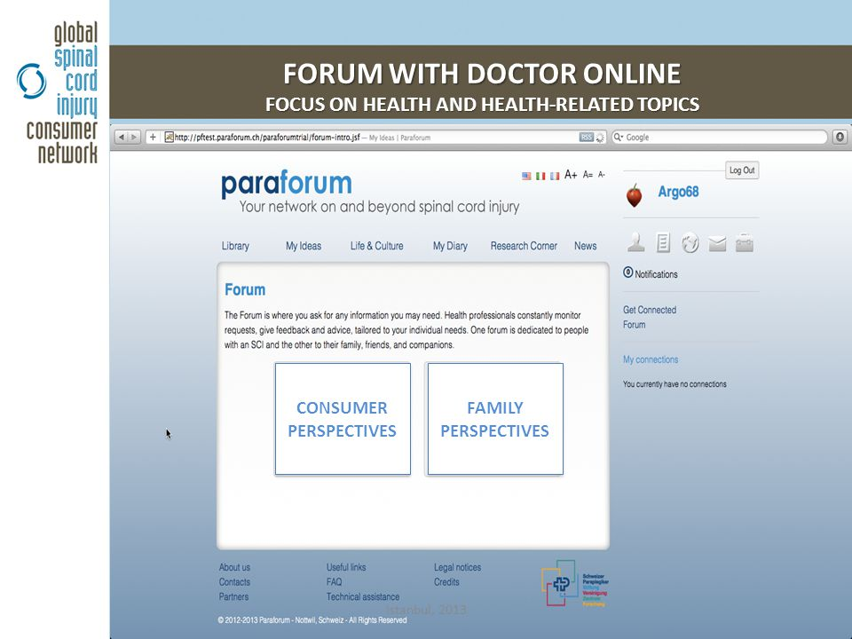 FORUM WITH DOCTOR ONLINE FOCUS ON HEALTH AND HEALTH-RELATED TOPICS Istanbul, 2013 CONSUMER PERSPECTIVES CONSUMER PERSPECTIVES FAMILY PERSPECTIVES FAMI