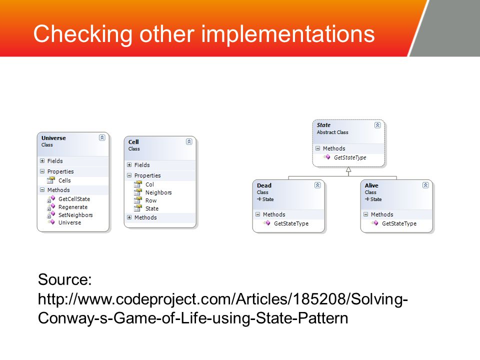 Checking other implementations Source: http://www.codeproject.com/Articles/185208/Solving- Conway-s-Game-of-Life-using-State-Pattern