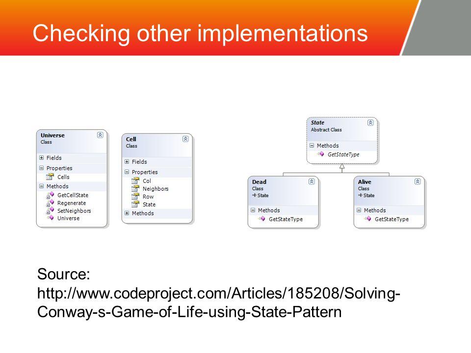 Implementation code metrics 5 classes (including 2 subclasses) 5 properties 5 methods 316 lines of code 64 effective lines of code (calculated using VS code metrics)