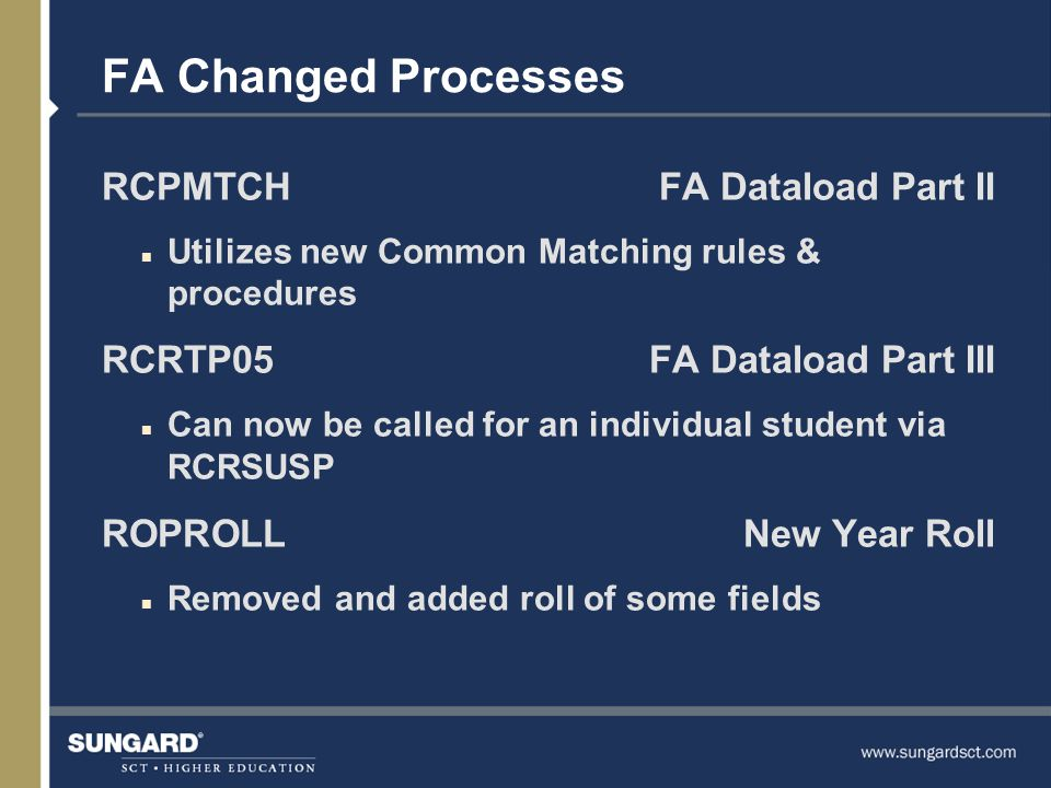 FA Changed Processes RCPMTCHFA Dataload Part II n Utilizes new Common Matching rules & procedures RCRTP05FA Dataload Part III n Can now be called for an individual student via RCRSUSP ROPROLLNew Year Roll n Removed and added roll of some fields