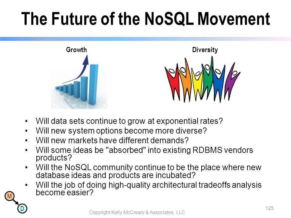 M D The Future of the NoSQL Movement Will data sets continue to grow at exponential rates? Will new system options become more diverse? Will new marke