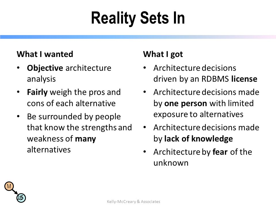 M D Reality Sets In What I wanted Objective architecture analysis Fairly weigh the pros and cons of each alternative Be surrounded by people that know