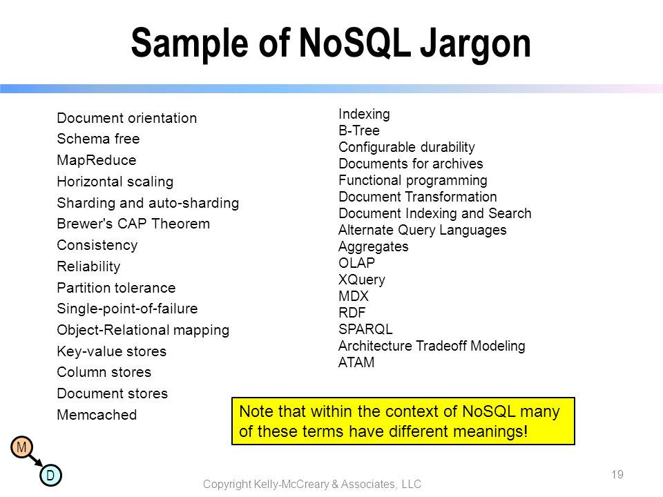 M D Sample of NoSQL Jargon Document orientation Schema free MapReduce Horizontal scaling Sharding and auto-sharding Brewer's CAP Theorem Consistency R