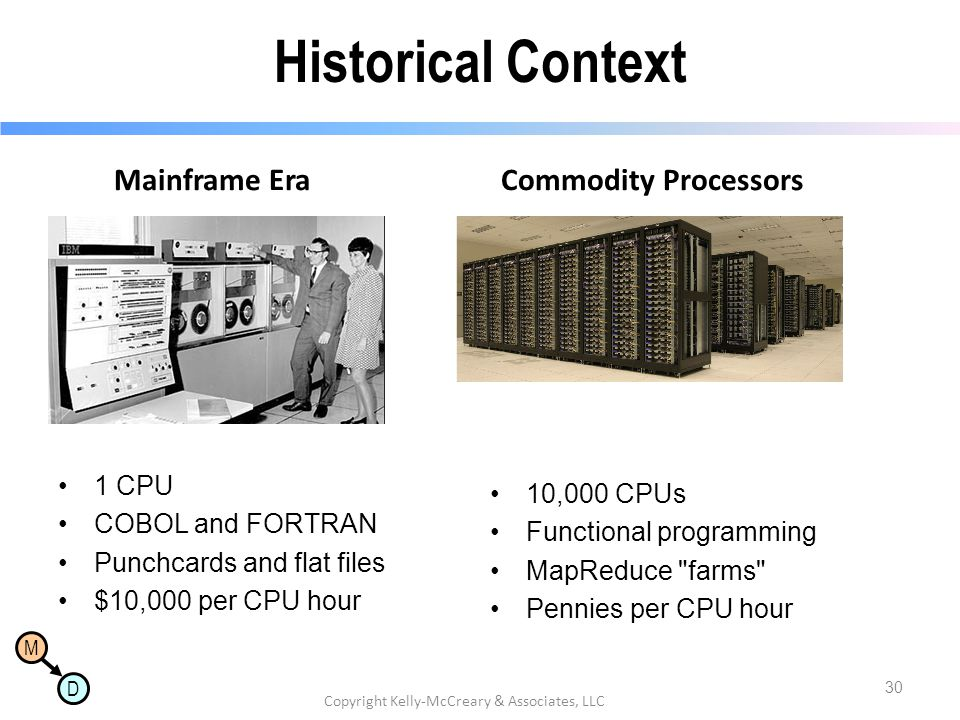 M D Historical Context Mainframe Era 1 CPU COBOL and FORTRAN Punchcards and flat files $10,000 per CPU hour Commodity Processors 10,000 CPUs Functiona