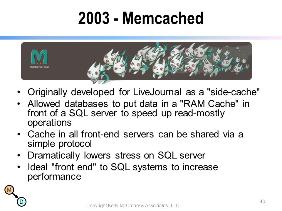 M D 2003 - Memcached Originally developed for LiveJournal as a