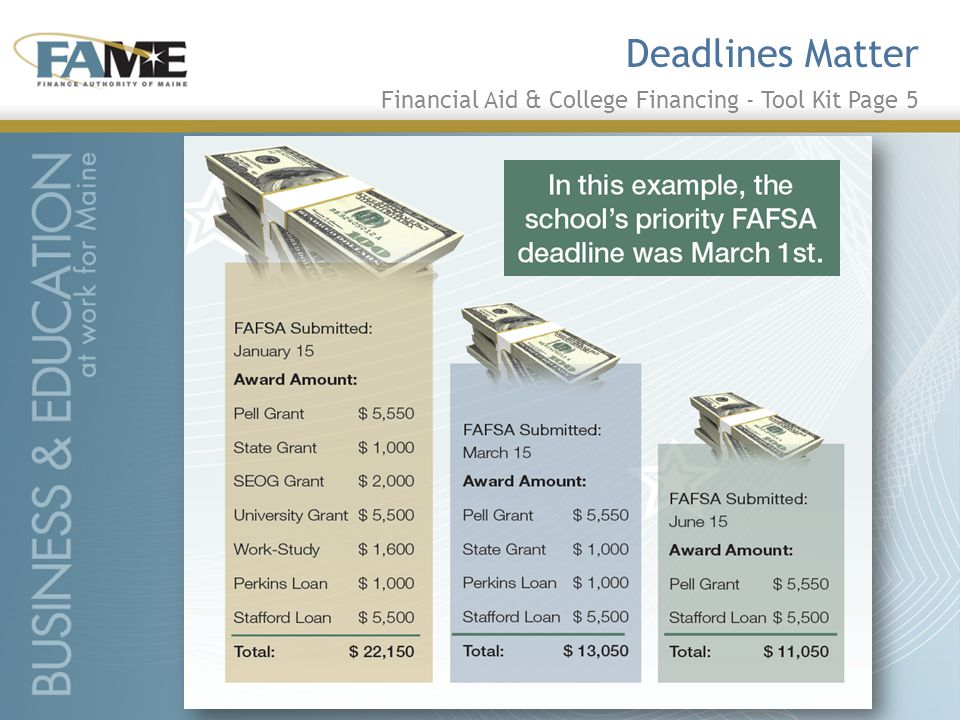 Deadlines Matter Financial Aid & College Financing - Tool Kit Page 5