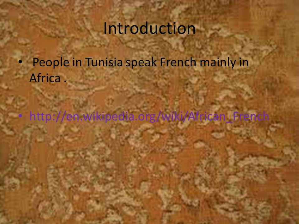 Introduction People in Tunisia speak French mainly in Africa.