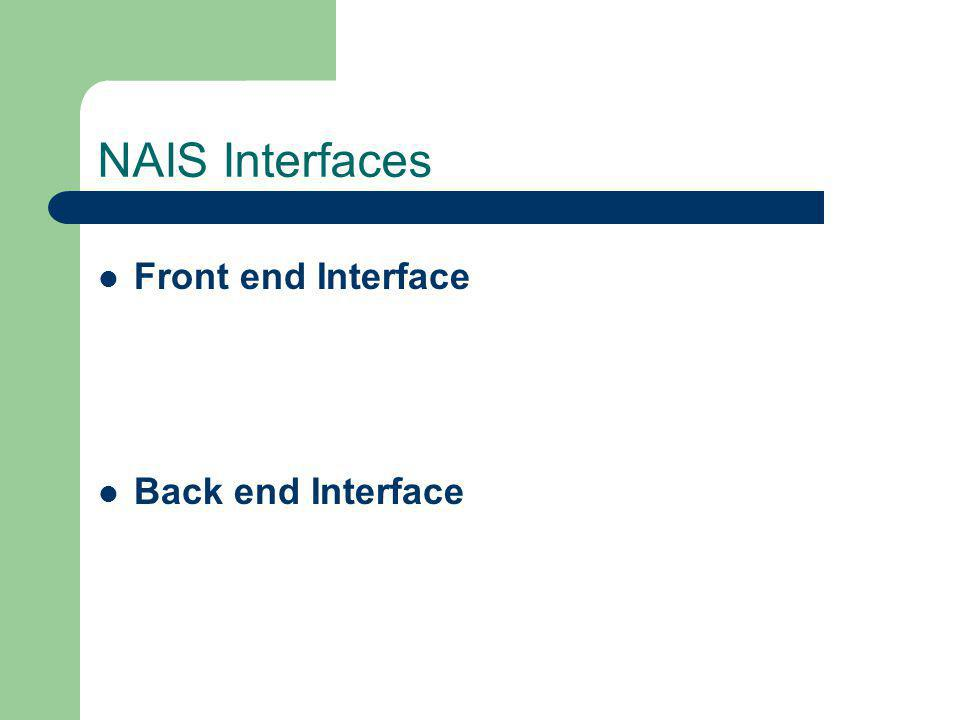 NAIS Interfaces Front end Interface Back end Interface