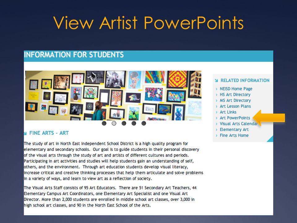 View Artist PowerPoints