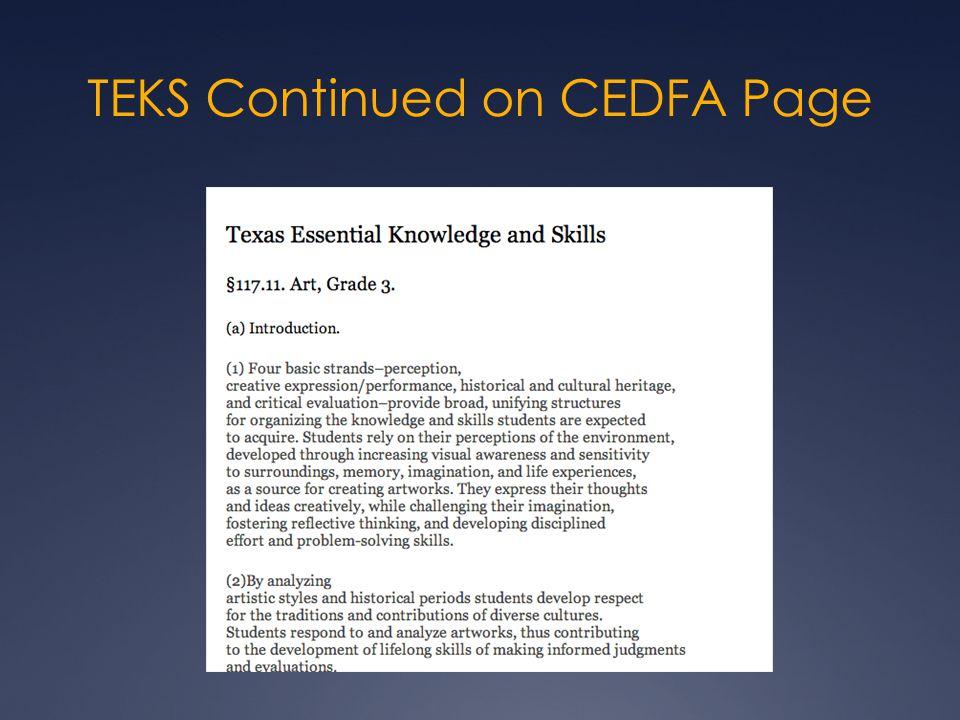 TEKS Continued on CEDFA Page