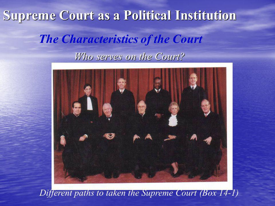 Supreme Court as a Political Institution Who serves on the Court.