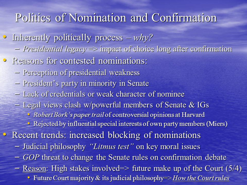 Politics of Nomination and Confirmation Inherently politically process – why.