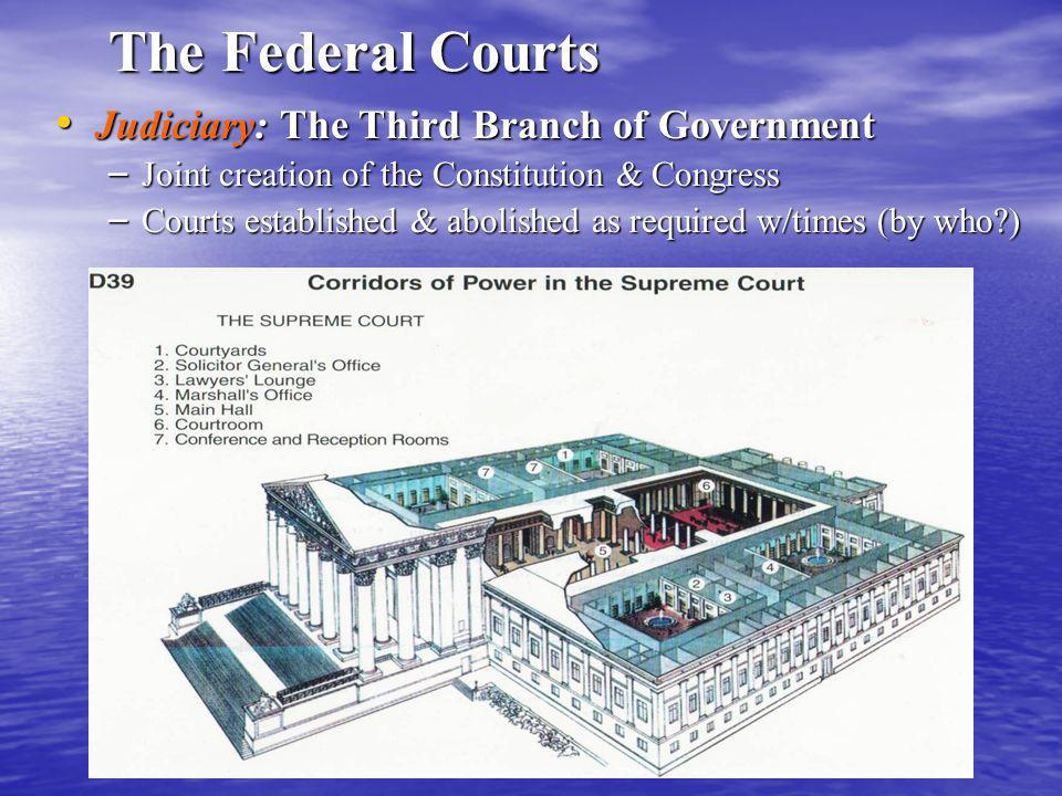 The Federal Courts Judiciary: The Third Branch of Government Judiciary: The Third Branch of Government – Joint creation of the Constitution & Congress – Courts established & abolished as required w/times (by who )