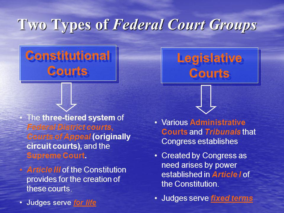 Constitutional Courts Constitutional Courts The three-tiered system of Federal District courts, Courts of Appeal (originally circuit courts), and the Supreme Court.