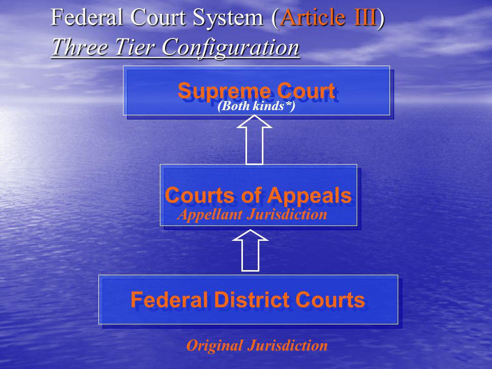 Federal Court System (Article III) Three Tier Configuration Supreme Court Courts of Appeals Federal District Courts Original Jurisdiction Appellant Jurisdiction (Both kinds*)
