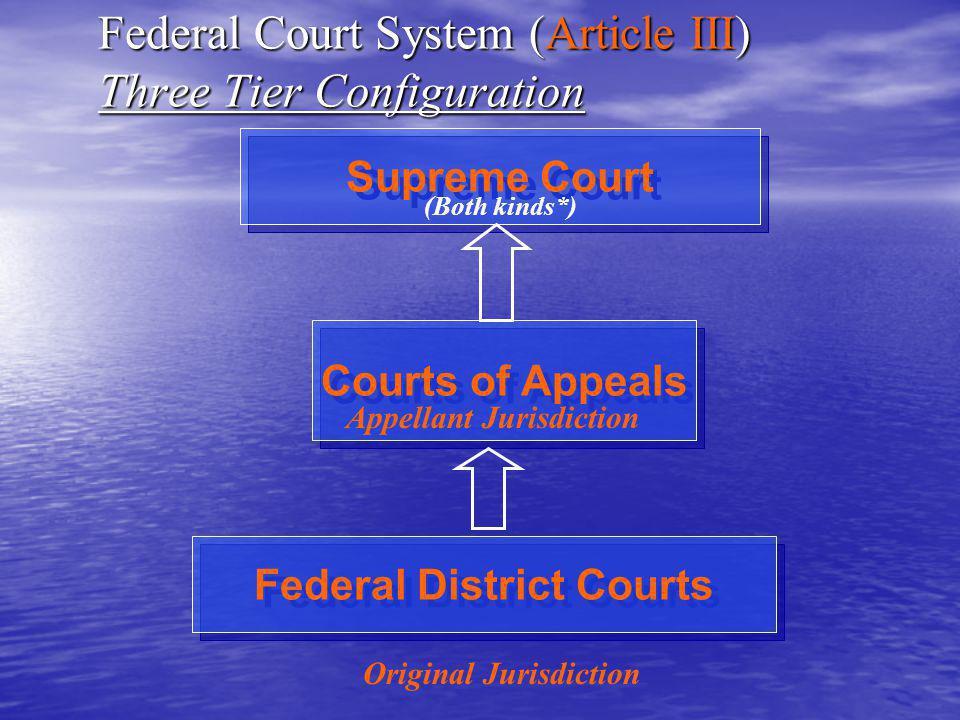 Federal Court System (Article I Courts) AKA: Legislative Courts Congress Establishes Other (Legislative) Courts Tribunals Appeals & others Administrative