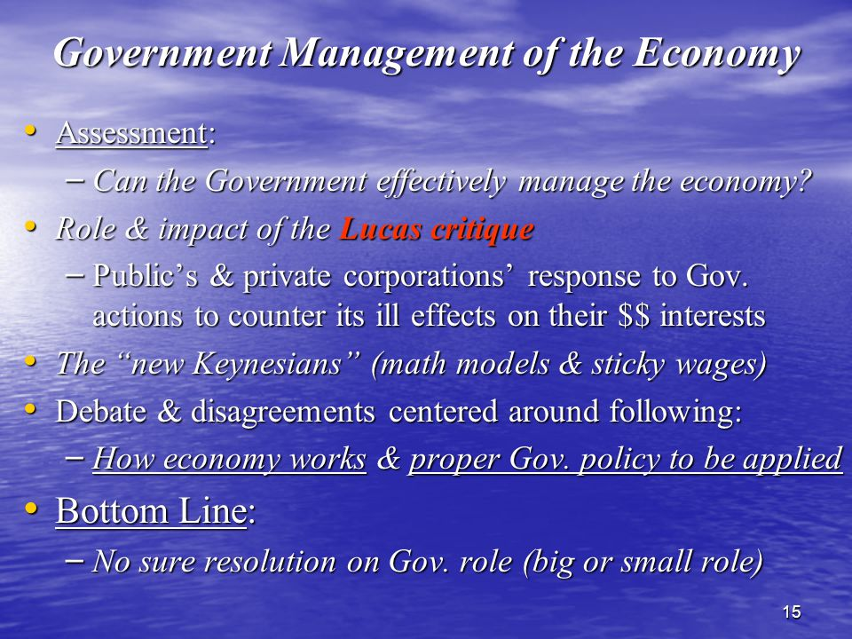 15 Government Management of the Economy Assessment: Assessment: – Can the Government effectively manage the economy.