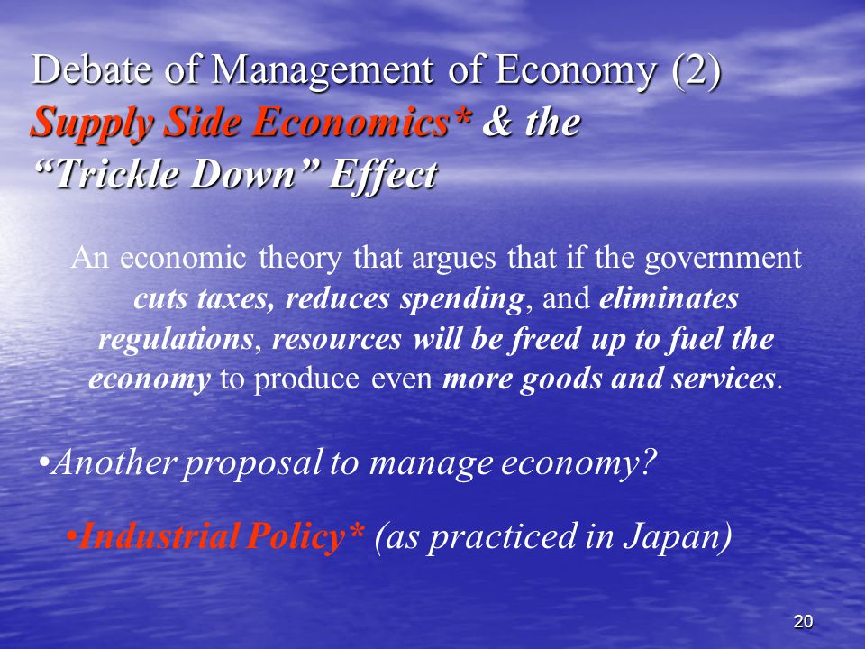 20 An economic theory that argues that if the government cuts taxes, reduces spending, and eliminates regulations, resources will be freed up to fuel the economy to produce even more goods and services.