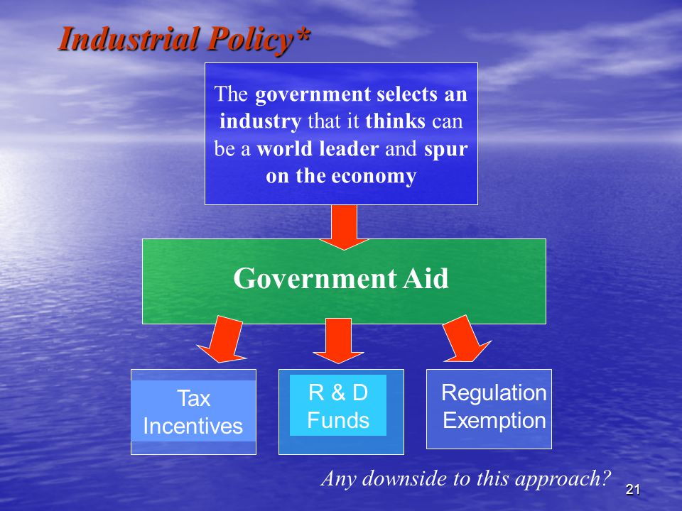 21 Government Aid The government selects an industry that it thinks can be a world leader and spur on the economy Tax Incentives R & D Funds Regulation Exemption Industrial Policy* Any downside to this approach