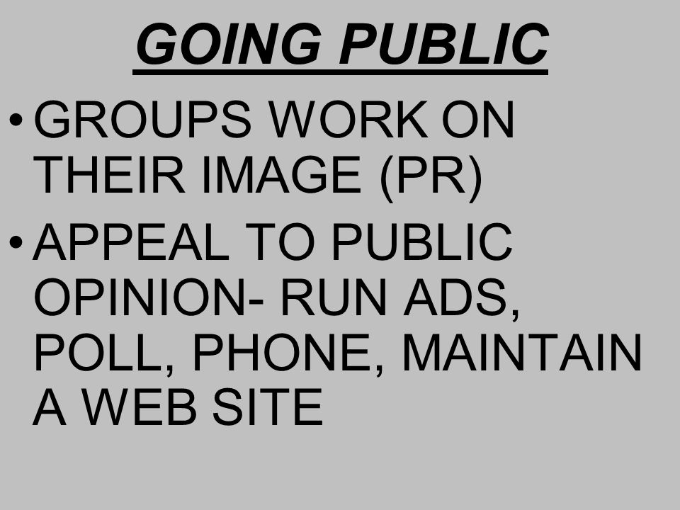 GOING PUBLIC GROUPS WORK ON THEIR IMAGE (PR) APPEAL TO PUBLIC OPINION- RUN ADS, POLL, PHONE, MAINTAIN A WEB SITE