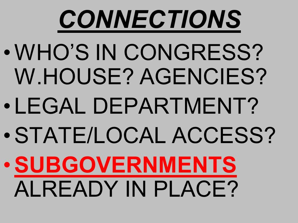 CONNECTIONS WHO'S IN CONGRESS. W.HOUSE. AGENCIES.