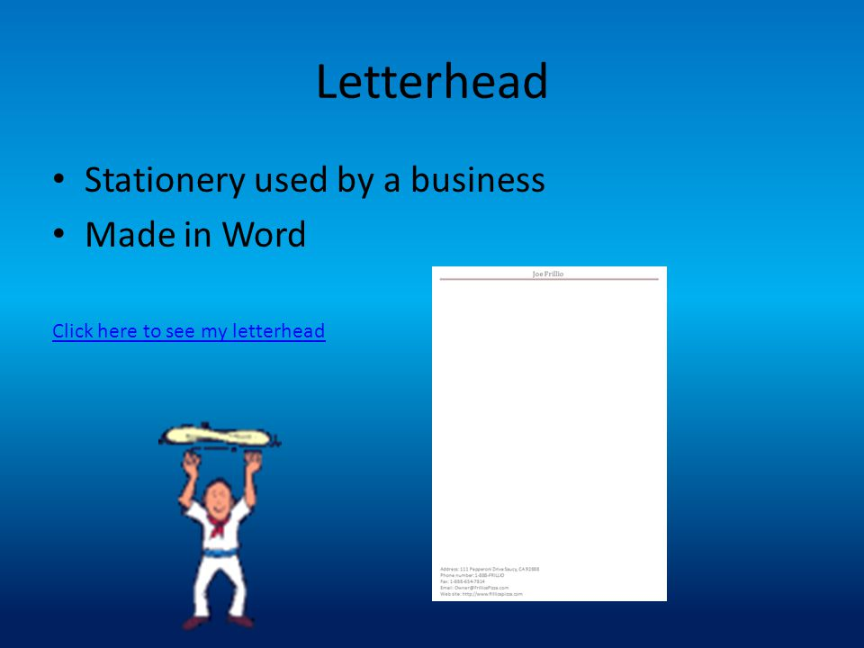 Letterhead Stationery used by a business Made in Word Click here to see my letterhead
