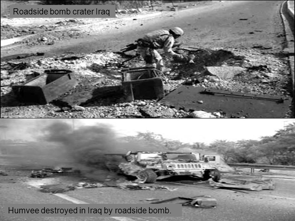Humvee destroyed in Iraq by roadside bomb. Roadside bomb crater Iraq