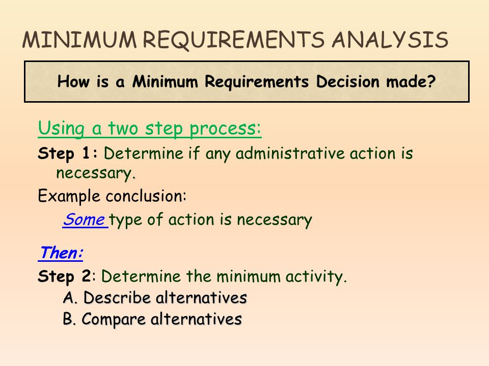 Using a two step process:. Step 1: Determine if any administrative action is necessary. Example conclusion: Some type of action is necessary Then: Ste
