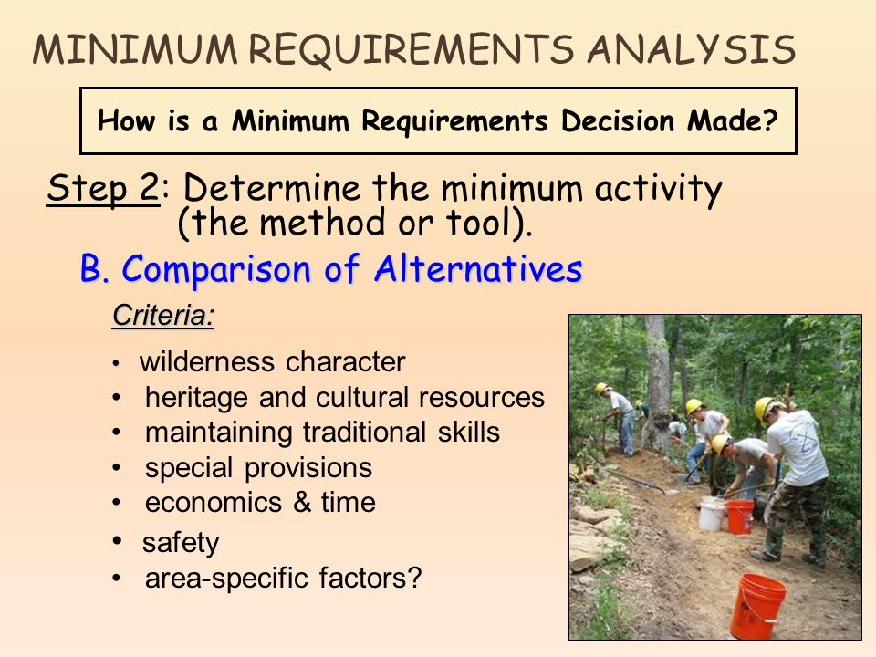 How is a Minimum Requirements Decision Made? Step 2: Determine the minimum activity (the method or tool). B. Comparison of Alternatives Criteria: wild