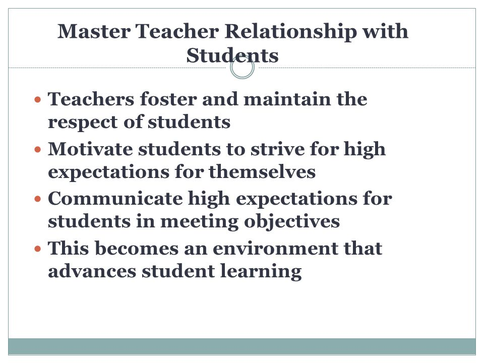 The master teacher does not take care of business of teaching without first spending considerable time protecting and nurturing their students every single day.