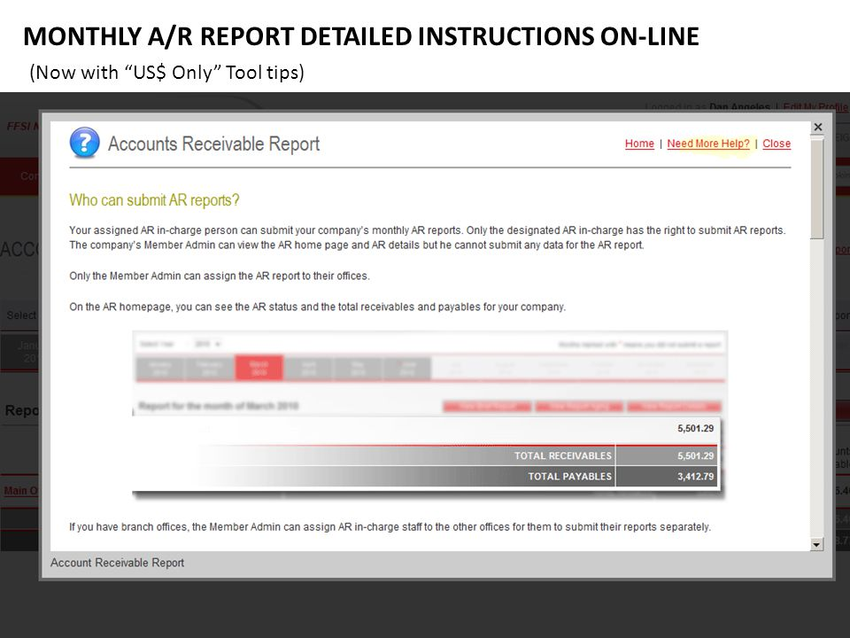 MONTHLY A/R REPORT DETAILED INSTRUCTIONS ON-LINE (Now with US$ Only Tool tips)