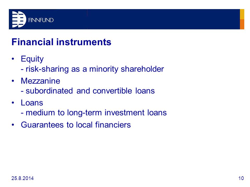 Financial instruments Equity - risk-sharing as a minority shareholder Mezzanine - subordinated and convertible loans Loans - medium to long-term investment loans Guarantees to local financiers