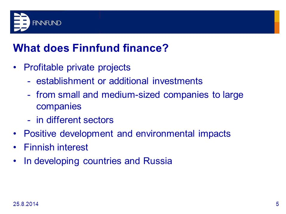 What does Finnfund finance.