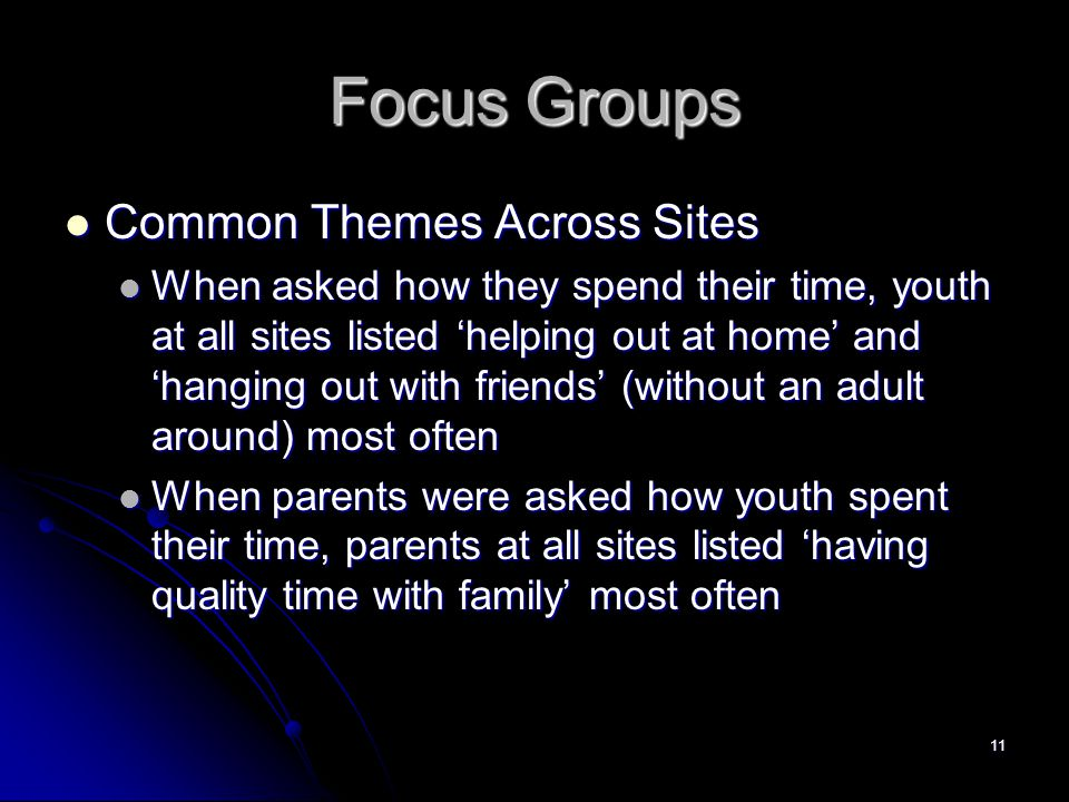 11 Focus Groups Common Themes Across Sites Common Themes Across Sites When asked how they spend their time, youth at all sites listed 'helping out at home' and 'hanging out with friends' (without an adult around) most often When asked how they spend their time, youth at all sites listed 'helping out at home' and 'hanging out with friends' (without an adult around) most often When parents were asked how youth spent their time, parents at all sites listed 'having quality time with family' most often When parents were asked how youth spent their time, parents at all sites listed 'having quality time with family' most often