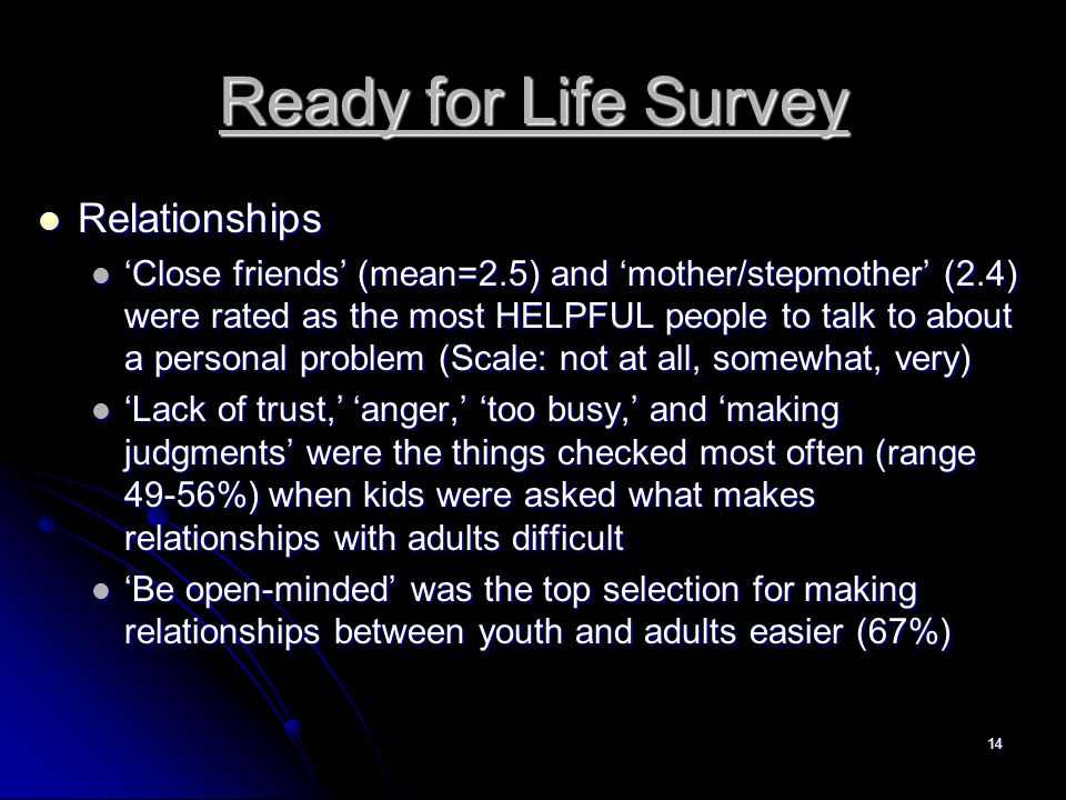 14 Ready for Life Survey Relationships Relationships 'Close friends' (mean=2.5) and 'mother/stepmother' (2.4) were rated as the most HELPFUL people to talk to about a personal problem (Scale: not at all, somewhat, very) 'Close friends' (mean=2.5) and 'mother/stepmother' (2.4) were rated as the most HELPFUL people to talk to about a personal problem (Scale: not at all, somewhat, very) 'Lack of trust,' 'anger,' 'too busy,' and 'making judgments' were the things checked most often (range 49-56%) when kids were asked what makes relationships with adults difficult 'Lack of trust,' 'anger,' 'too busy,' and 'making judgments' were the things checked most often (range 49-56%) when kids were asked what makes relationships with adults difficult 'Be open-minded' was the top selection for making relationships between youth and adults easier (67%) 'Be open-minded' was the top selection for making relationships between youth and adults easier (67%)