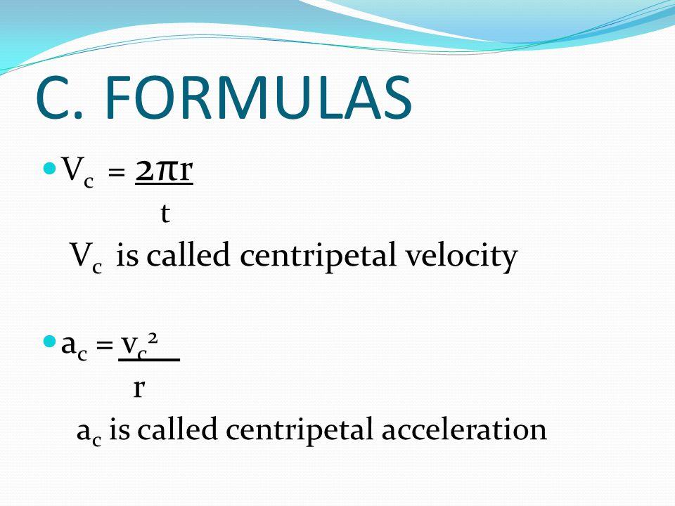 C. FORMULAS V c = 2π r t V c is called centripetal velocity a c = v c 2 r a c is called centripetal acceleration