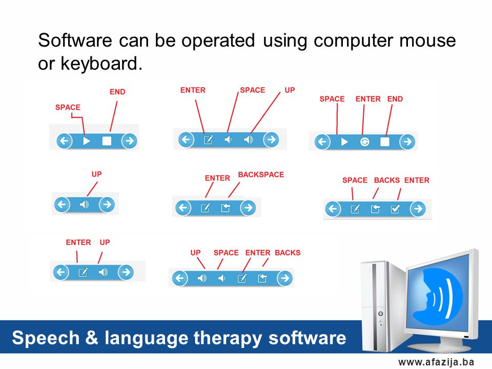 Speech & language therapy software www.afazija.ba Software can be operated using computer mouse or keyboard.